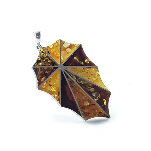 Multi Color Amber Large Mosaic Pendant