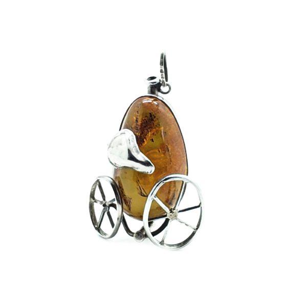 Cognac Amber Sterling Silver Handmade Pendant