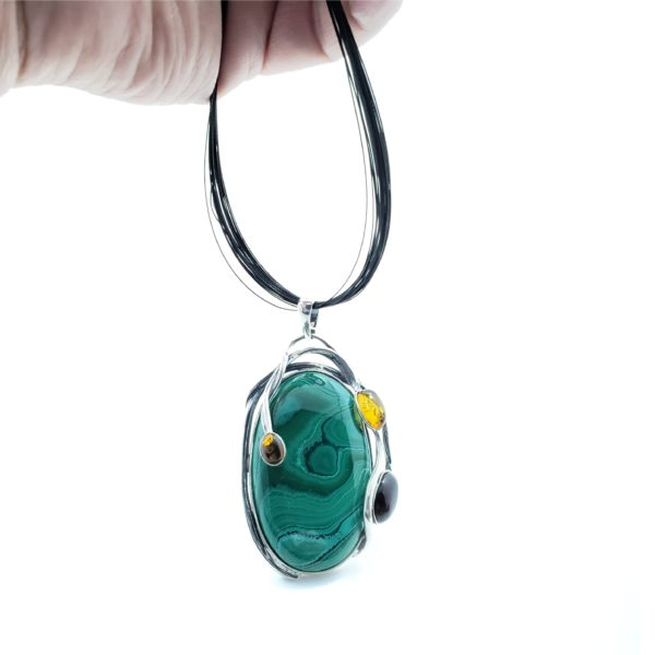 Multi Color Amber And Malachite Large Pendant