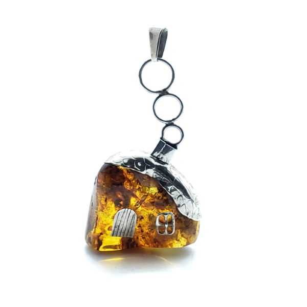 """Cognac Amber Sterling Silver """"House"""" Pendant"""