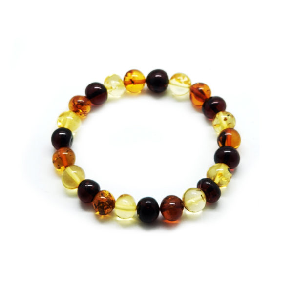 Baroque Shape Multi Color Amber Stretch Bracelet