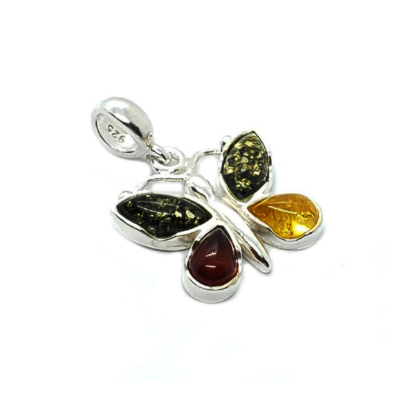 Multi Color Amber Butterfly Pendant