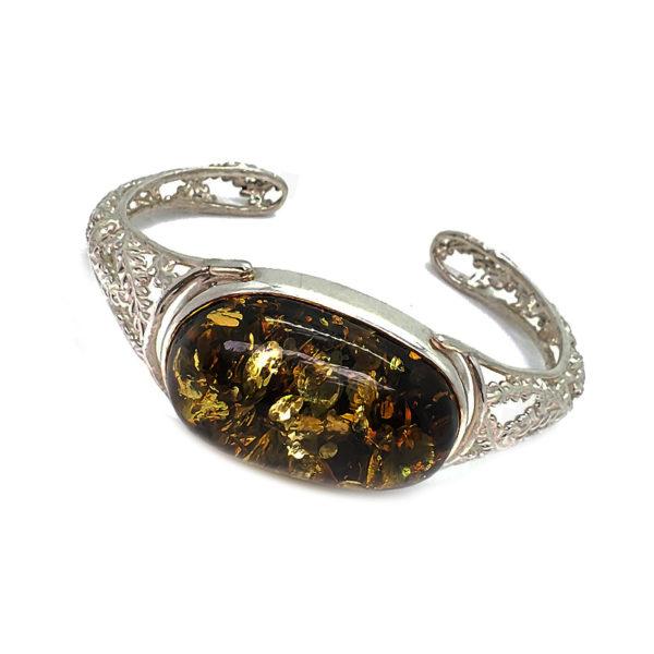 Green Amber Filigree Silver Cuff Bracelet