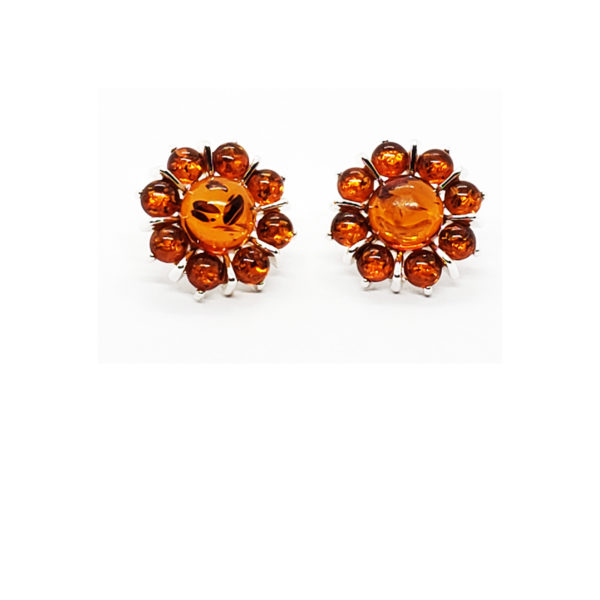 "Cognac Amber .925 Silver ""Flower"" Stud Earrings"