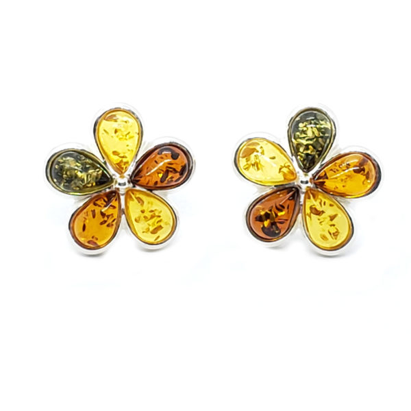 "Multi Color Amber ""Flower"" Stud Earrings"