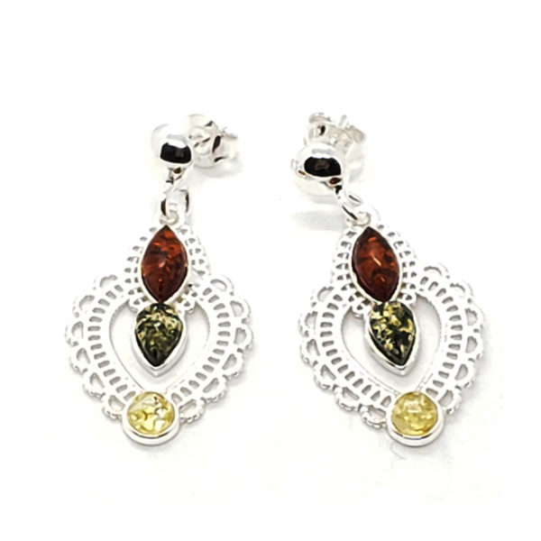 Multi Color Amber Filigree Silver Post Dangle Earrings