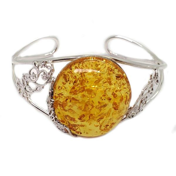 Citrine/Lemon Amber Sterling Silver Open Cuff Bracelet