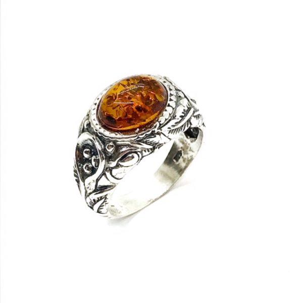 Cognac Amber .925 Silver Unisex Ring