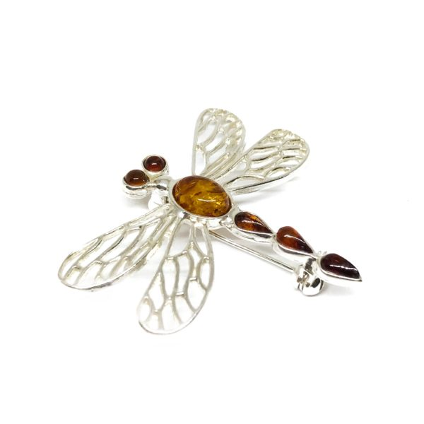 Cognac Amber Dragonfly Pin / Brooch