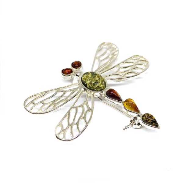 Multi Color Amber Dragonfly Pin / Brooch