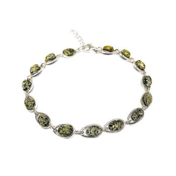 Green Amber .925 Silver Link Bracelet