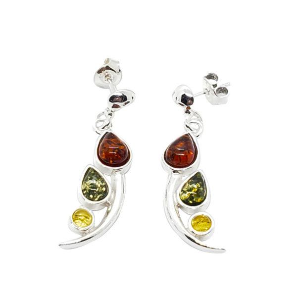 Multi Color Amber Post Dangle Tulip Earrings