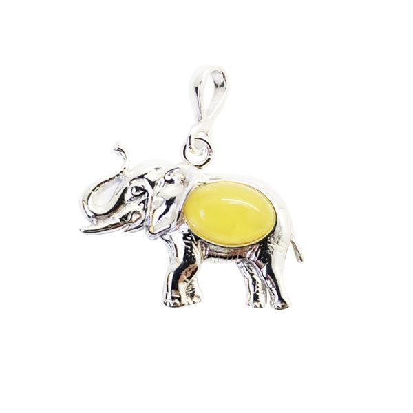 Butterscotch Amber Sterling Silver Elephant Pendant