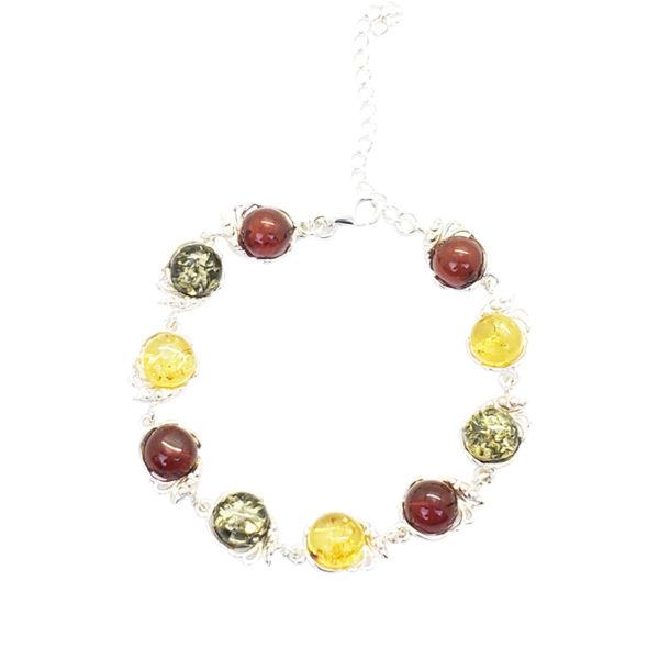 Multi Color Amber Sterling Silver Link Bracelet