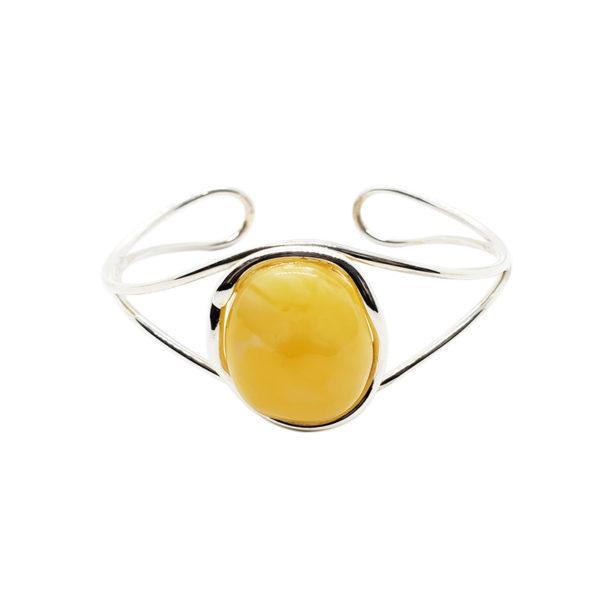 Butterscotch Amber Sterling Silver Open Cuff Bracelet