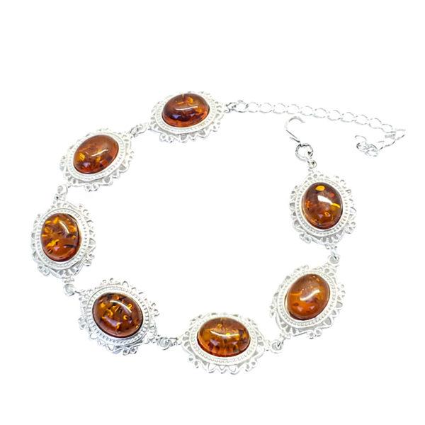 Cognac Amber Sterling Silver Link Bracelet