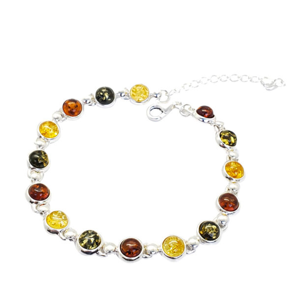 Multi Color Amber Sterling Silver Link Bracelet