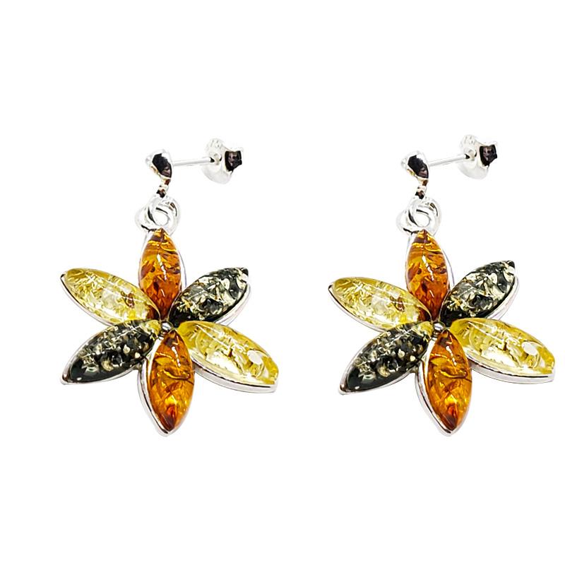 """Multi Color Amber """"Flower"""" Post Dangle Earrings"""