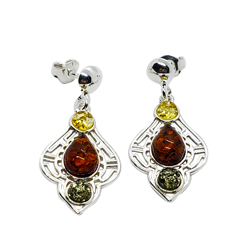Multi Color Amber .925 Silver Post Dangle Earrings