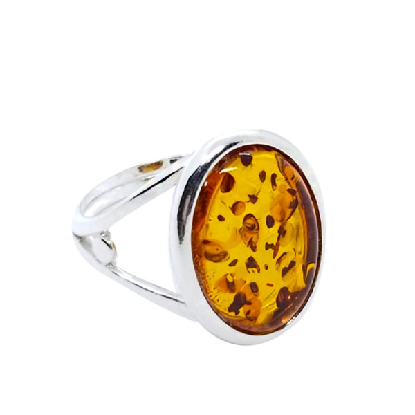 Cognac Amber Sterling Silver Adjustable Ring