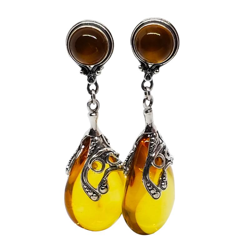 Cognac Amber Sterling Silver Clip On Earrings