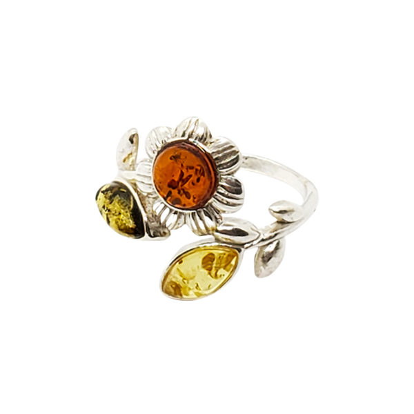"Multi Color Amber .925 Silver ""Flower"" Ring"