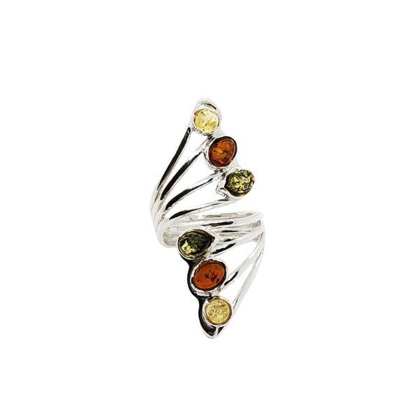 Multi Color Amber .925 Silver Adjustable Ring