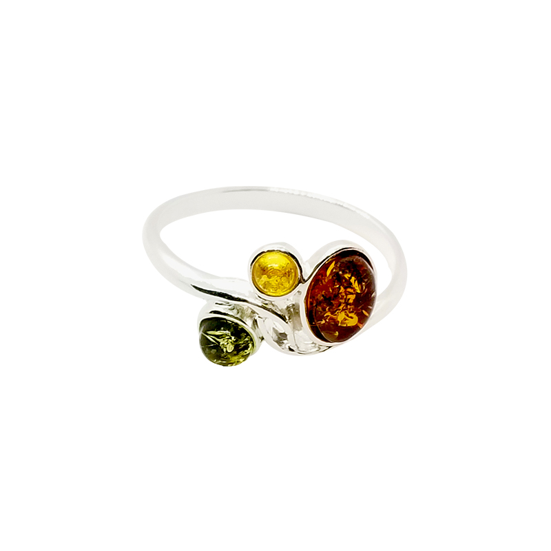 Multi Color Amber Sterling Silver Ring