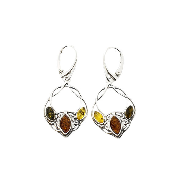 Multi Color Amber .925 Silver Celtic Style Earrings