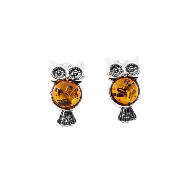 Cognac Amber Sterling Silver Owl Stud Earrings