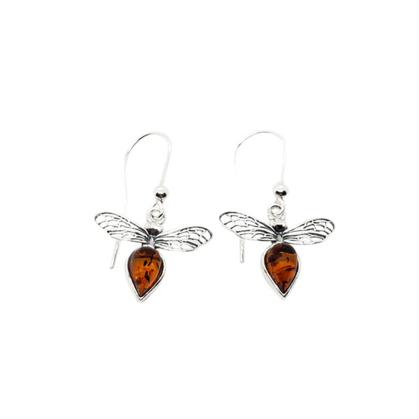 Cognac Amber Sterling Silver Bee Earrings