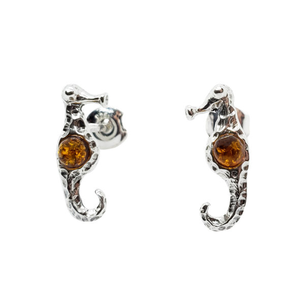 Cognac Amber .925 Silver Seahorse Stud Earrings