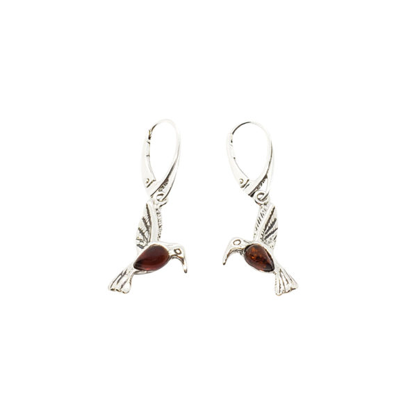 Cognac Amber Sterling Silver Hummingbird Earrings