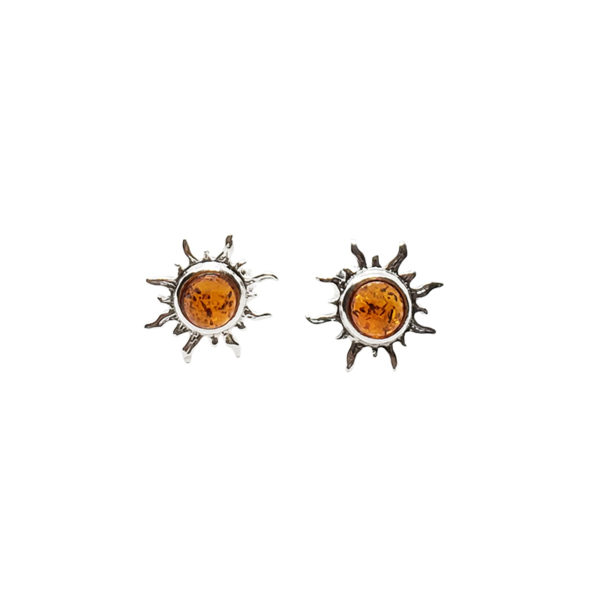"Cognac Amber .925 Silver ""Sun"" Stud Earrings"