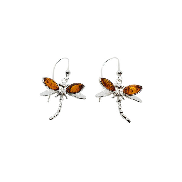 Cognac Amber .925 Silver Dragonfly Earrings