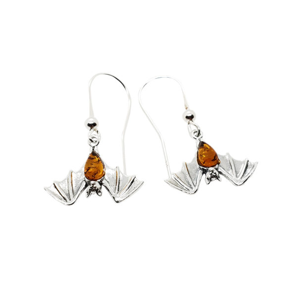 Cognac Amber Sterling Silver Bat Earrings