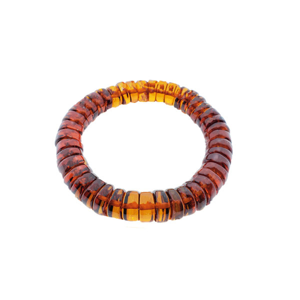Cognac Amber Rondelle Bead Bracelet