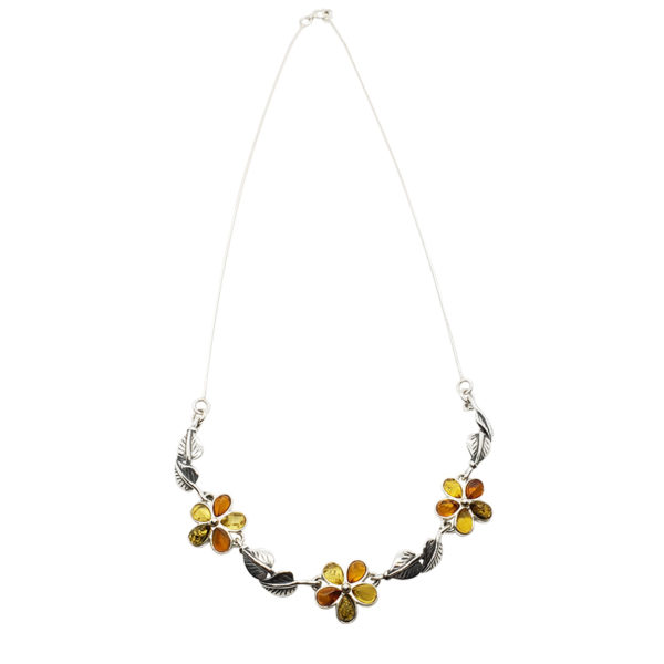 Multi Color Amber Sterling Silver Flower Necklace