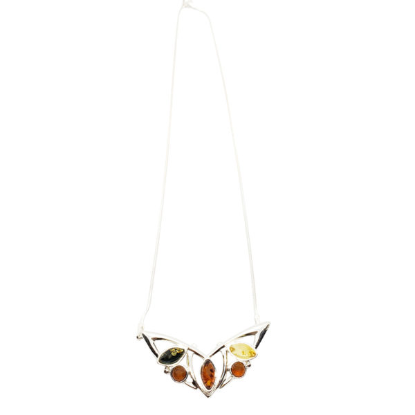 Multi Color Amber Sterling Silver Butterfly Necklace