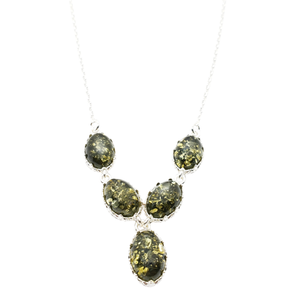 Green Amber Sterling Silver Necklace