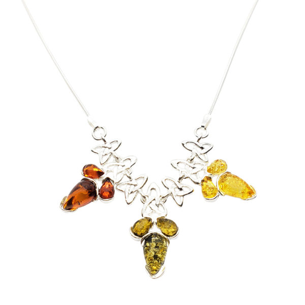 Multi Color Amber .925 Silver Celtic Style Necklace