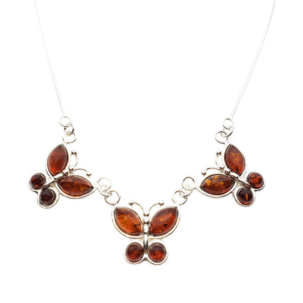 Cognac Amber Butterfly Necklace