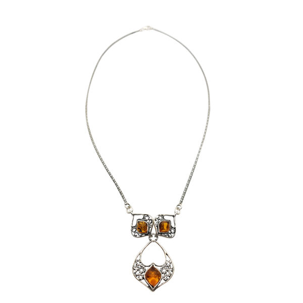 Cognac Amber Oxidized Silver Necklace