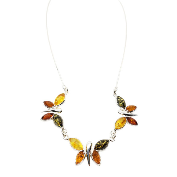 Multi Color Amber Butterfly Necklace
