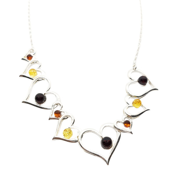 "Multi Color Amber .925 Silver ""Heart"" Necklace"