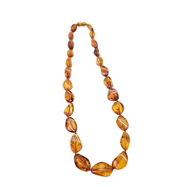 Cognac Amber Bead Necklace