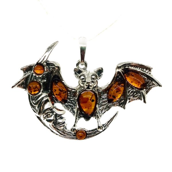 "Cognac Amber ""Bat On The Moon"" Pendant"