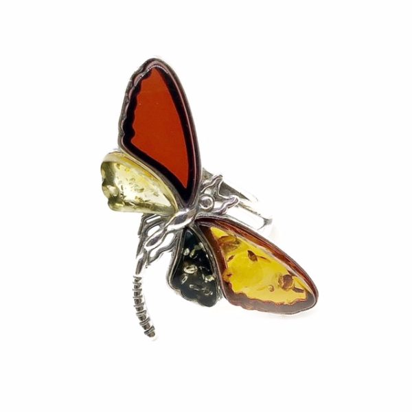 Multi Color Amber Dragonfly Adjustable Ring