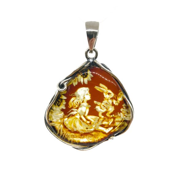 Alice In Wonderland Theme Cameo Amber Pendant