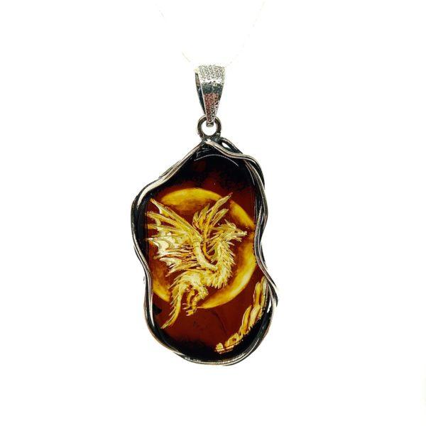 Dragon Cameo / Intaglio Amber Pendant